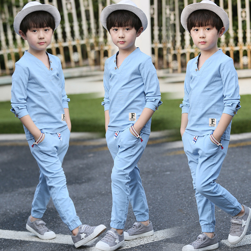 Solid Boys Clothing Sets Cotton T-shirts+Pants 2Pcs Kids Clothing Sets Toddler Baby Boys Clothes Cotton Children Clothing Sets