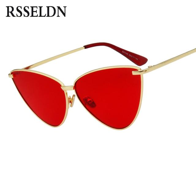 RSSELDN Senhoras De Grandes Dimensões óculos de Sol Olho De Gato Mulheres  Metal Frame UV400 Shades 8b990a49fe