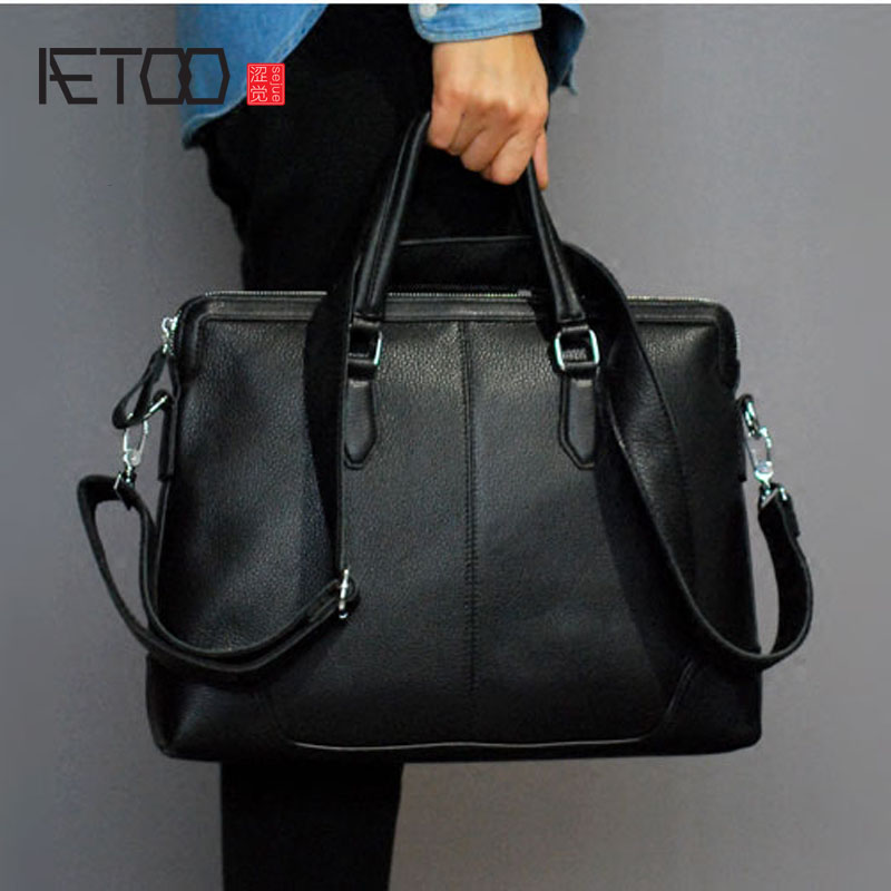 AETOO  High-grade imported leather men's business handbag shoulder bag Messenger bag briefcase men bag 100g bag nicotinamide food grade 99% vitamin b3 usa imported