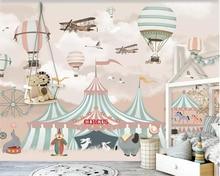 Beibehang Large 3d Wallpaper Cartoon Hot Air Balloon Airplane Animal Pup Circus Playground Background Wall 3d wallpaper behang цена 2017