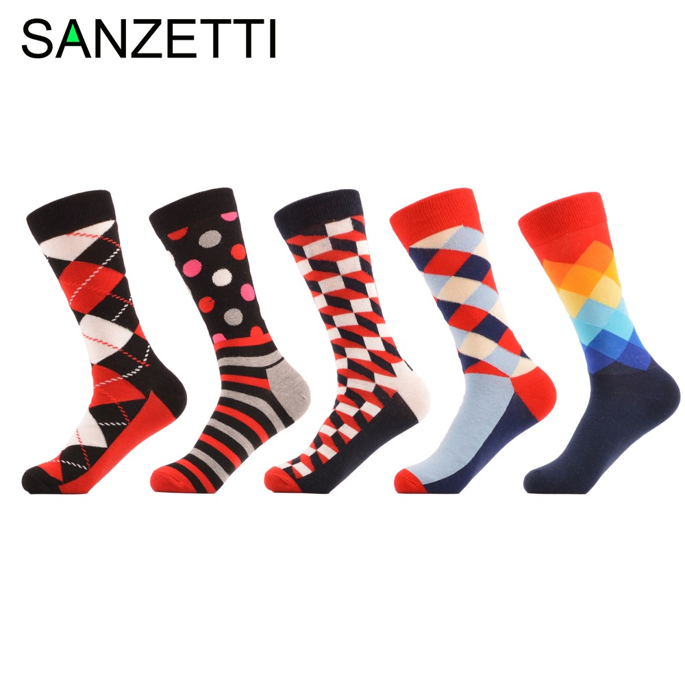 SANZETTI 5 pair/lot Mens Combed Cotton Red Happy Socks Men Casual Socks Novelty Red Socks Christmas Gift