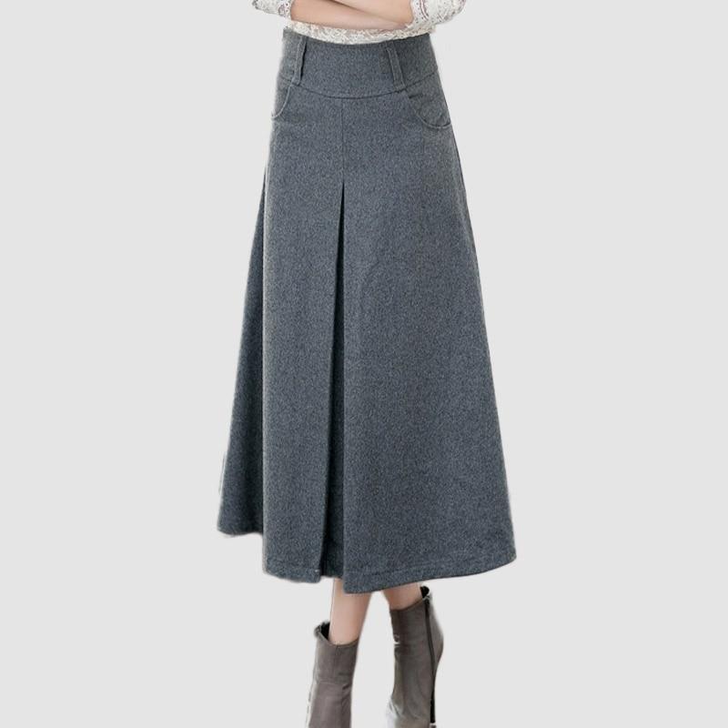 British Style New Quality Winter Skirt 2016 Autumn Fashion Womenu0026#39;s Long Woolen Skirts Big Buttom ...