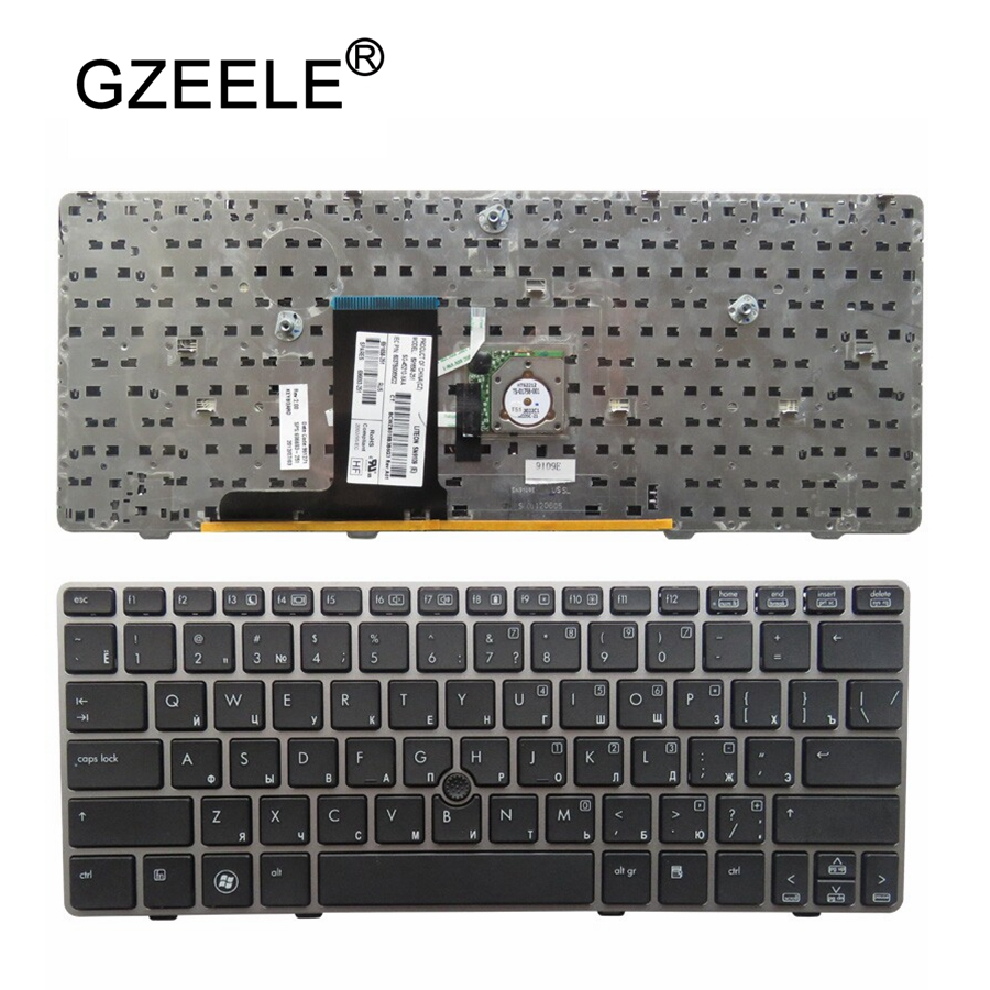 GZEELE New for EliteBook 2560 2560P 2570 2570P RU laptop keyboard with Gray border with Mouse