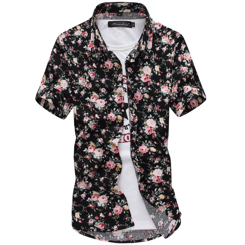 Men Summer Thin Shirts Short Sleeve Floral Shirts New Fashion Men Outwear Casual Slim Shirts Mens Cotton dress shirts 1