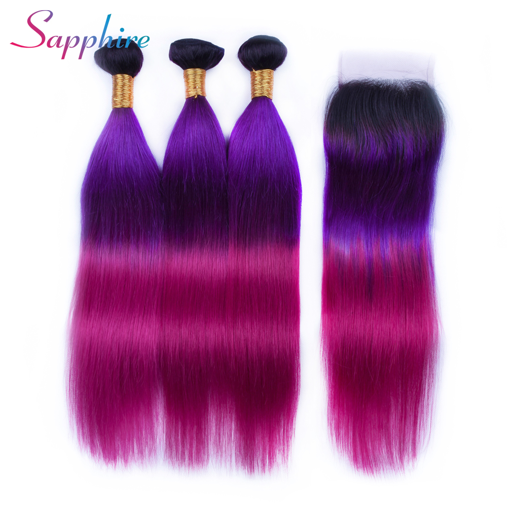 Sapphire Human Hair Straight 3 Bundles Ombre Hair Bundles With Closure 4*4 Free Part Lace Closure 100% Remy Human Hair Weave