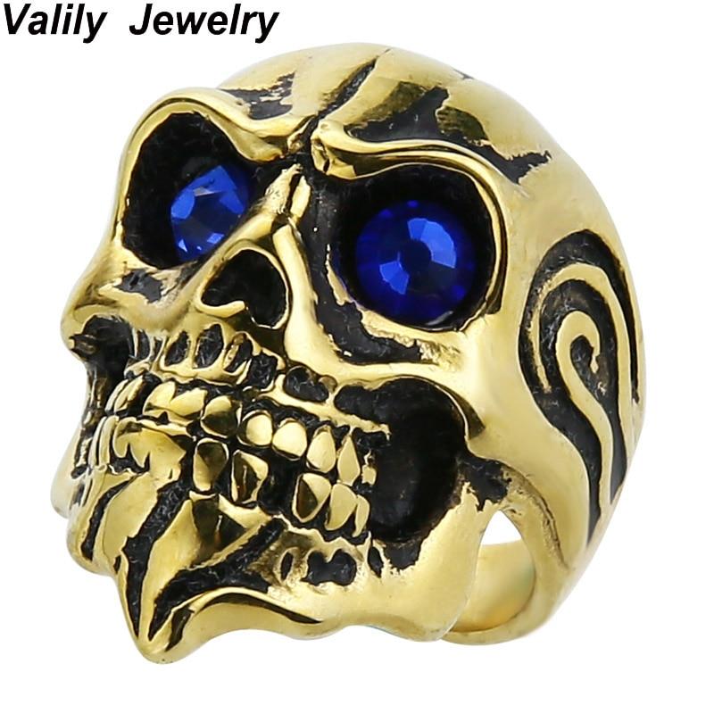 Or de EdgLifU Hommes Biker Gothique Crâne Anneau Rouge Des Yeux en acier inoxydable vieux moto reconstituant des manières antiques anneau pour Hommes bijoux