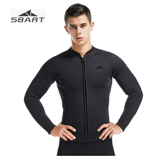 цены SBART 2019 New 3MM Men's Separated Long sleeve Wetsuit Jacket Full Black Snorkeling Winter Swimming Male Neoprene Diving suit