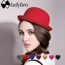 Ladybro Autumn Women Fedora Hat Classical Cap Chapeau femme Imitation Wool Cap Women's Hats Cute Solid Black Bowler Hat Female