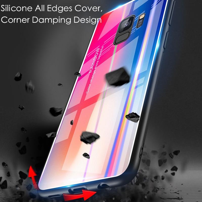 Samsung S9 Case S9 Plus rəngsiz 9H Temperli Şüşə Aurora Gradient - Cib telefonu aksesuarları və hissələri - Fotoqrafiya 3