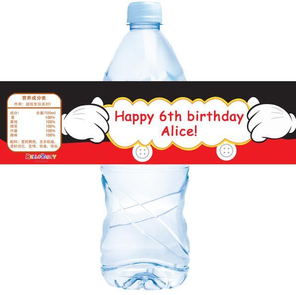 20 pcs personnalise mickey minnie bouteille d eau etiquette candy bar decoration baby shower enfants fete d anniversaire fournitures faveurs