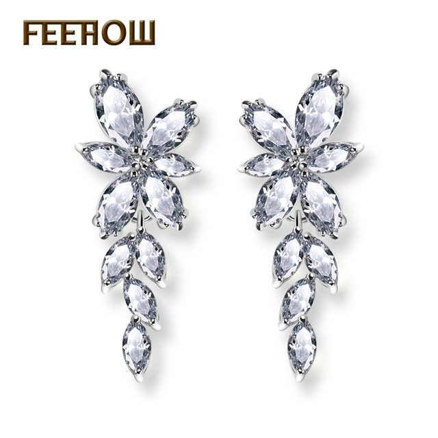 FEEHOW Clear White Yellow Marquise Cut Top Quality Cubic Zirconia Dangle Drop Ea