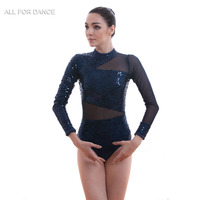 A18566 New Arrival Navy Blue Sequin Lace Bodice with Mesh Lyrical & Contemporary Cosutme Ballet Leotard Stage Dress