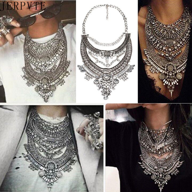 JERPVTE Vintage Silver Naszyjniki Vintage Crystal Maxi Choker Statement Collier Femme Boho Big Fashion Women Jewellery