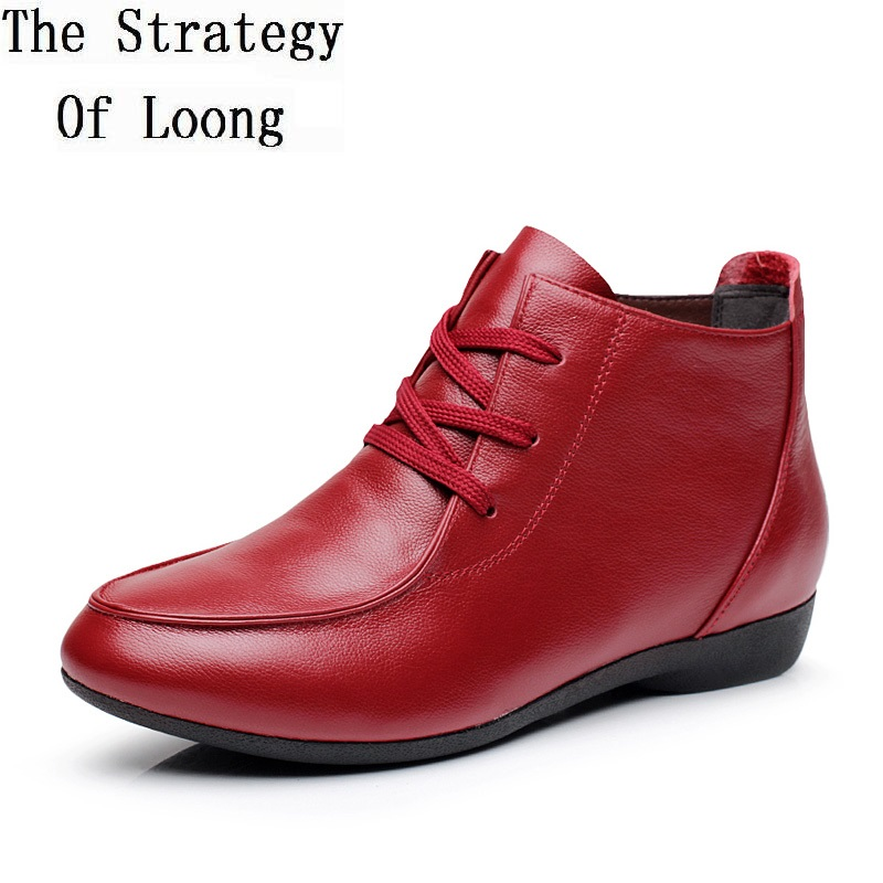 Spring and Autumn Ankle Boots Genuine Leather Boots Casual Boots Lace Up Women Shoes Leather Winter Plus Size 40 41 42 43