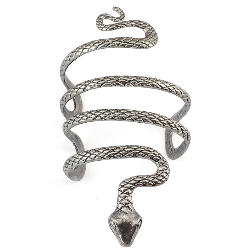 Bohemian Unique Armband Turkish Punk Tibet Silver Snake Shape Fashion <font><b>Open</b></font> Bangle Cuff <font><b>Bracelets</b></font> Men Women Charming Jewelry image