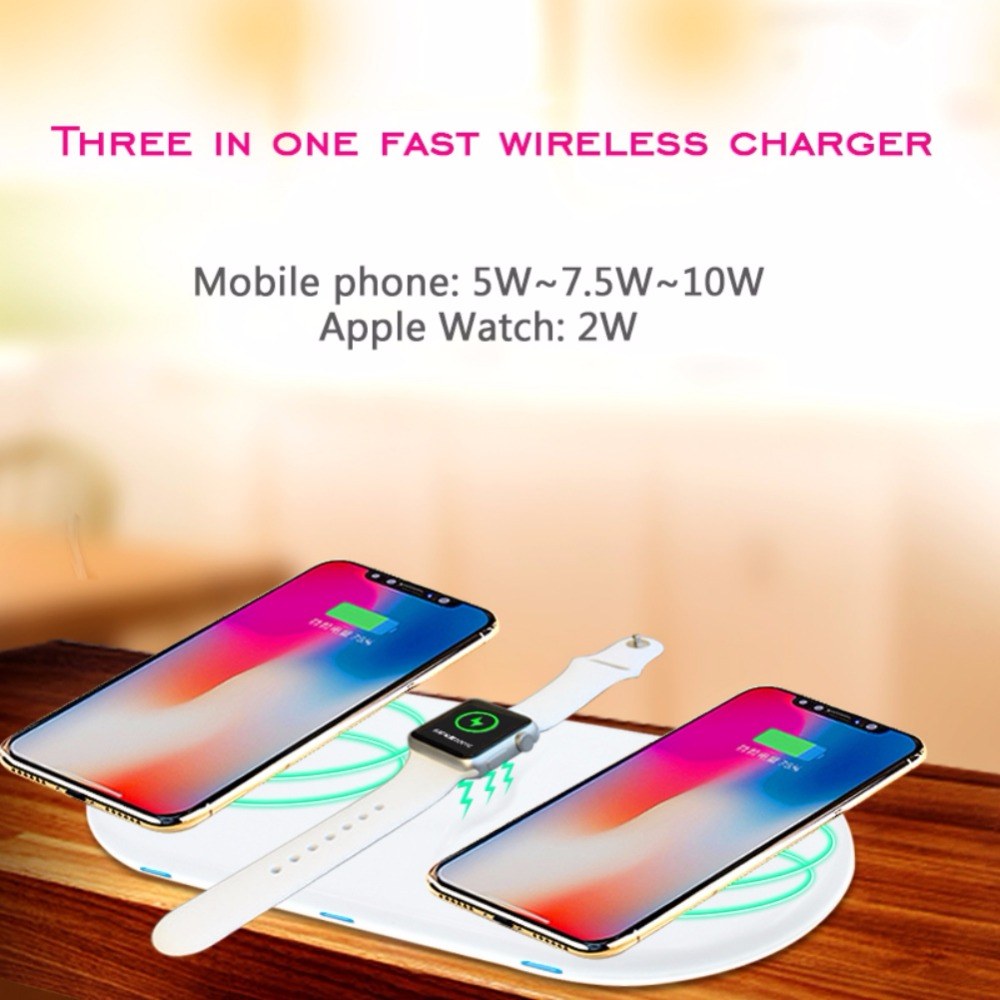 AirPower Wireless Charger Flat Fast Charging for Apple Watch QI Charger for iPhone X 8 8 plus Sumsang S7 edge S8 S9 plus for vw teramont 2017 2018 car mount qi wireless charger fast wireless charging accessories for iphone x 8 plus for samsung s7