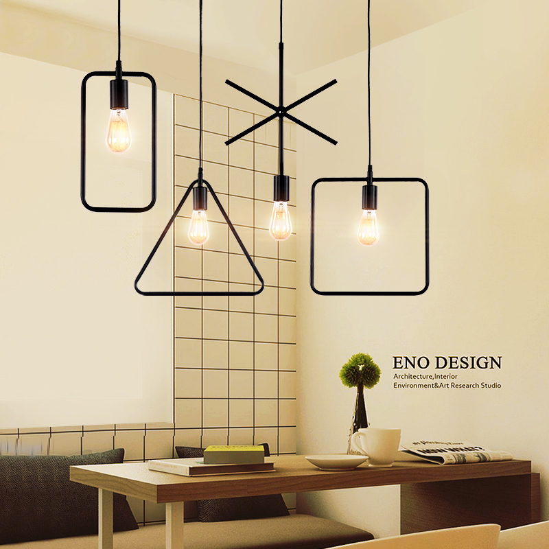 North European clothing store coffee restaurant brief retro bar table iron personality geometric pendant lamp personalized clothing store track lamp