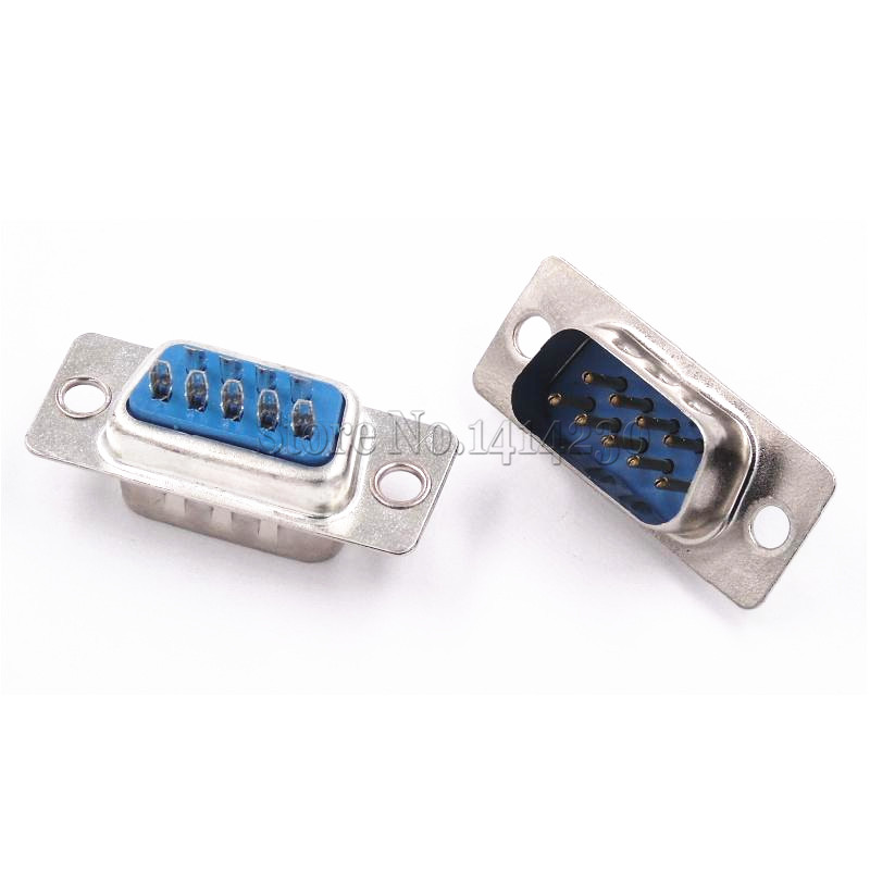 цена на 5Pcs RS232 serial port connector DB9 male socket/Plug connector 9pin copper RS232 COM socket adapter