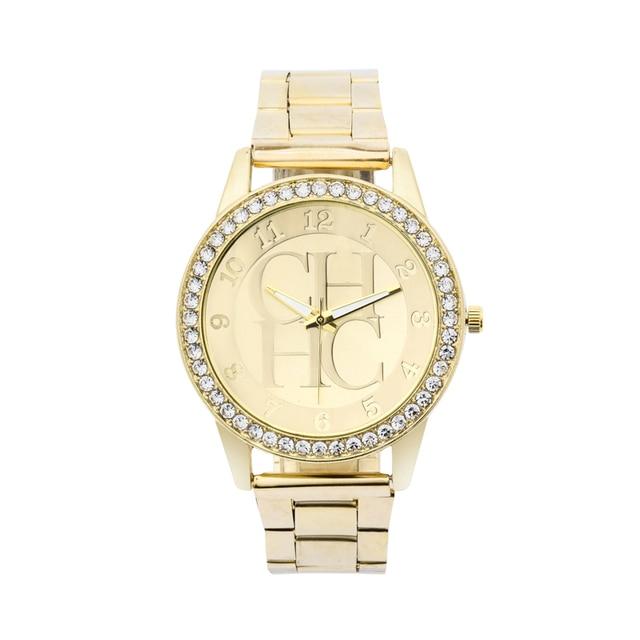 1add3e39ac5 Relogio feminino de lujo de marca relojes de cuarzo reloj de oro mujeres  moda Cristal de