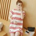 2016 новая мода лето полосатый материнства платье свободные топ футболка для женщин платья для беременных женщин