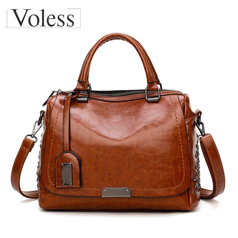 Voless Brand Luxury Handbags Women Bags Designer Vintage Pu Leather Women Crossbody Bags Ladies Rivet Tote Handbags Sequined bag