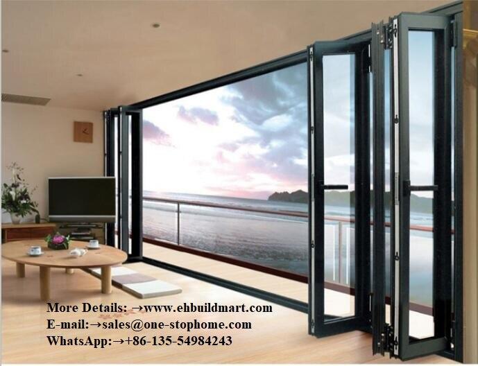 Véranda étanche double vitrage aluminium bi porte pliante, portes intérieures en verre aluminium noir, porte de grange, quincaillerie, porte coulissante