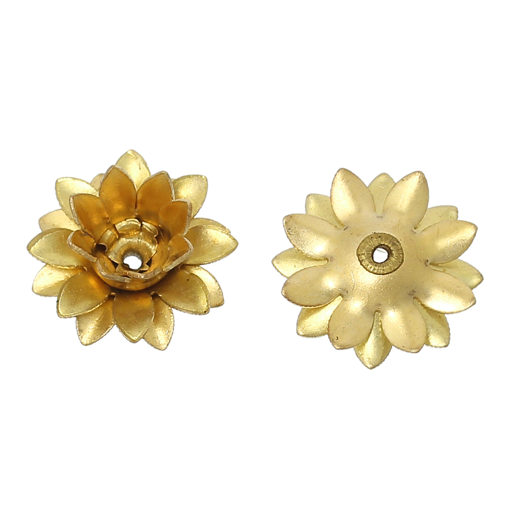 2 Pcs Fashionable 12mm Style; In X 12mm 4/8 4/8 Doreenbeads Brass Beads Caps Flower Brass Tone fits 6mm Beads