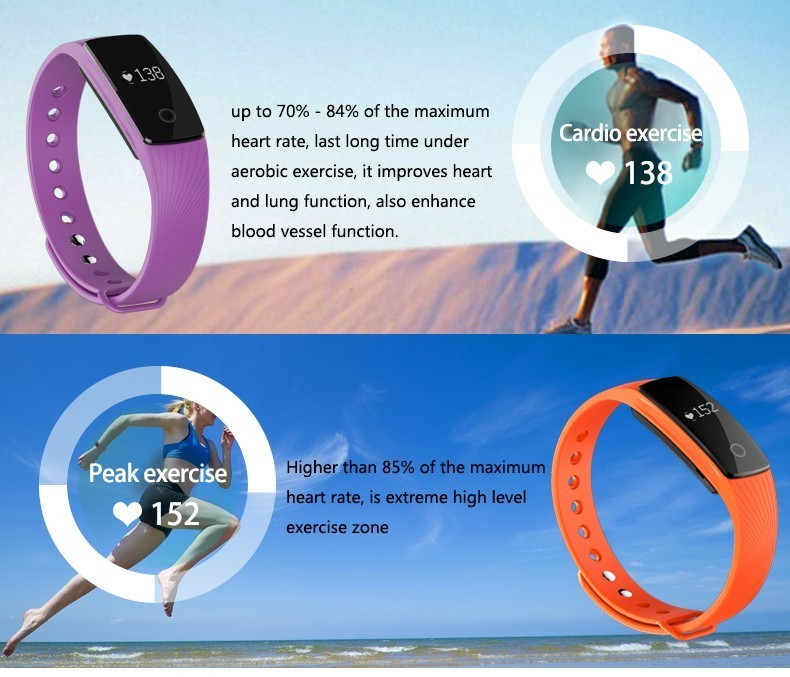 HearthRate Bluetooth Smart band Monitor best Wristband Fitness Tracker Veryfit 2.0 app pk xiaomi mi band cicret bracelet 4