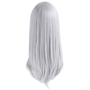 "Image 4 - L דוא""ל פאת K Kushina אנה קוספליי פאות אפור רסיס ארוך ישר פאת קוספליי עמיד בחום סינטטי שיער ליל כל הקדושים"