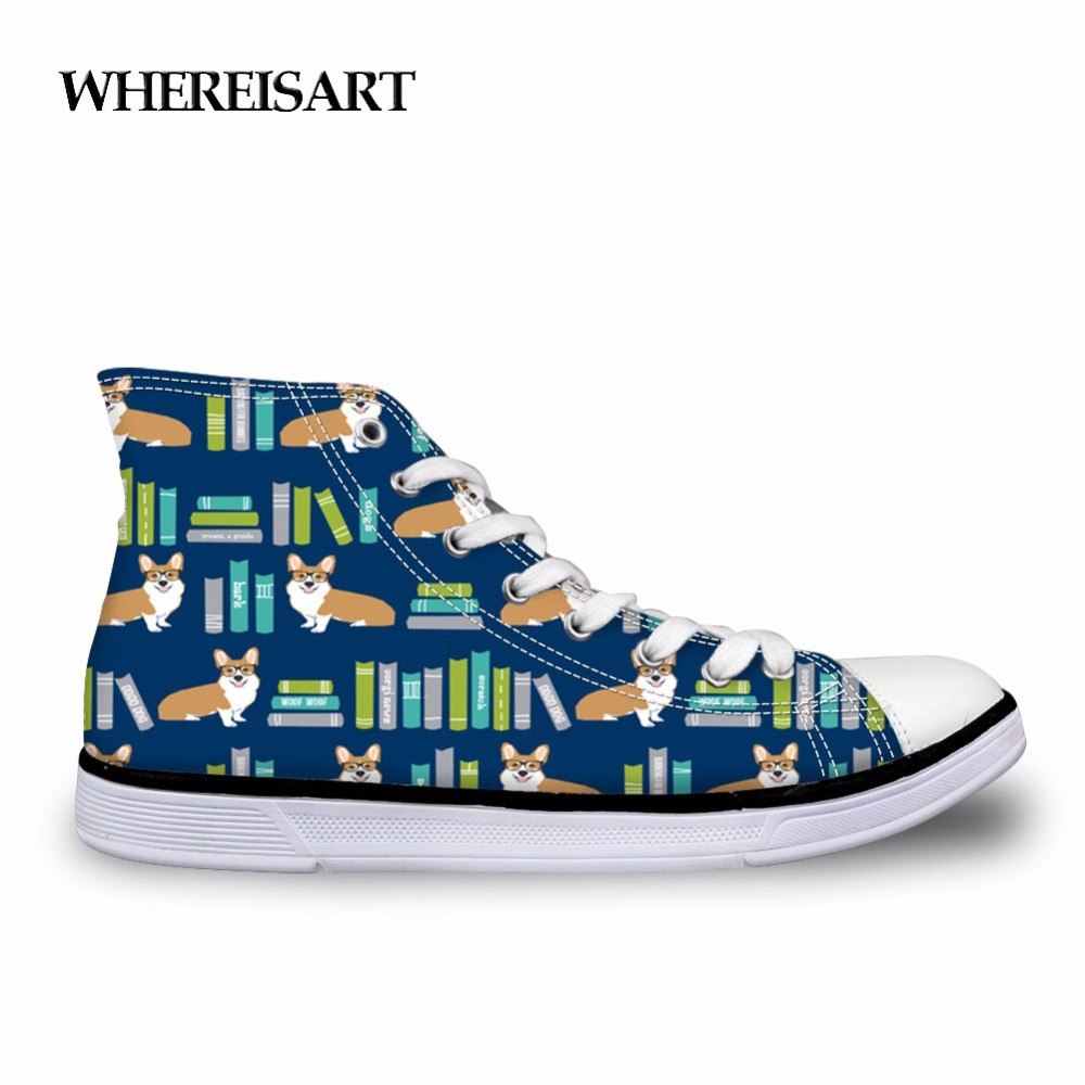 Shoes Whereisart Corgi In Library Shoes Male Animals Reading Print Mens High Tops Canvas Shoes Comfortable Outdoor Sneakers For Teen Crease-Resistance