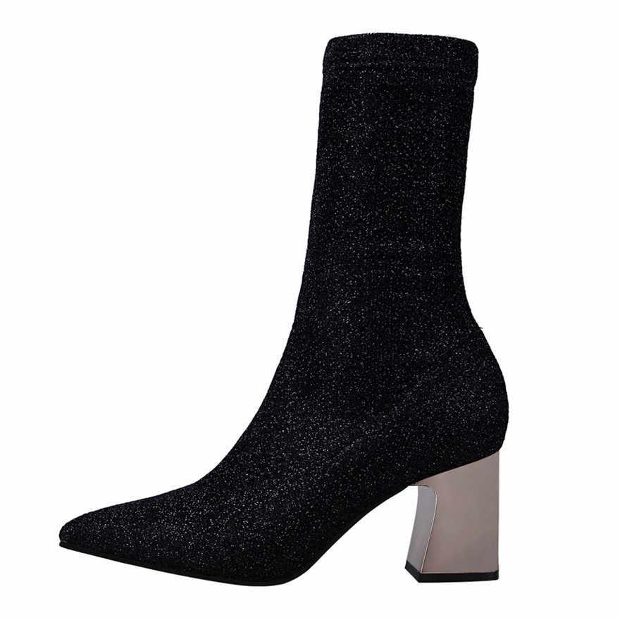 2019 Yeni Sonbahar Gösterisi Ince Kadın kısa çizmeler Klasikleri Payetli Kumaş Metal Topuk Çizmeler Kadın Sivri Burun Moda Yüksek Topuklu çizme