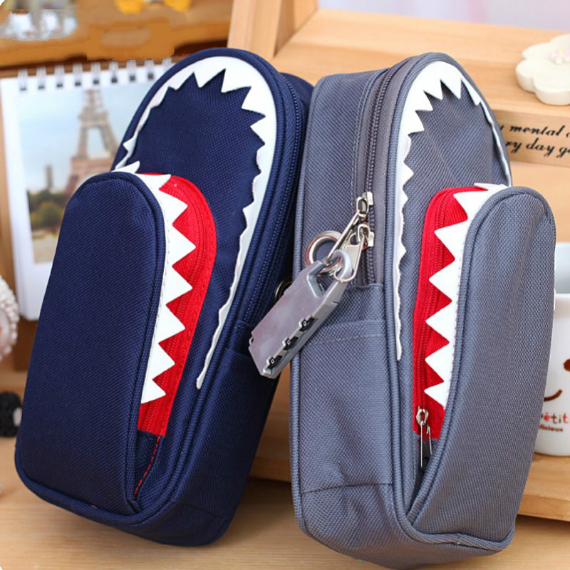 Students creative personality shark pen large capacity canvas bag with a password lock specil for boys pencil bag stationery box big capacity high quality canvas shark double layers pen pencil holder makeup case bag for school student with combination coded lock