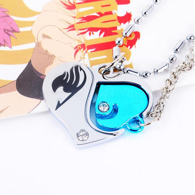 1pcs/set New Design Hot Anime Fairy Tail Valentine Lovers Couples Diamante Heart Pendant Necklace Cosplay Accessories puzzle heart design keychain set 2pcs