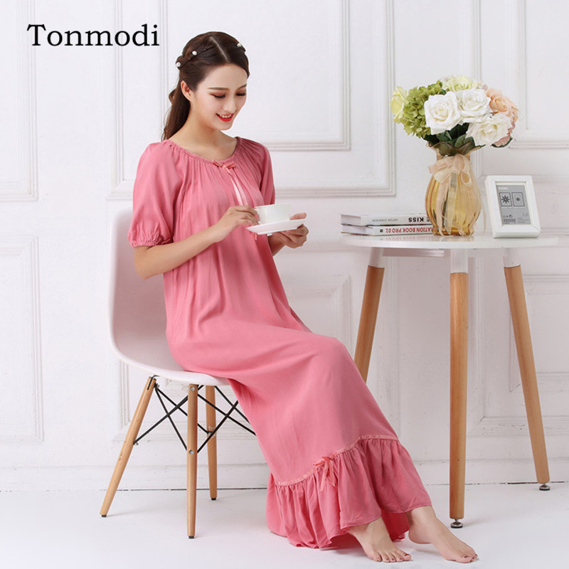 Nightgowns For Women Summer Short sleev Cotton Silk Nightgown Ladies Sleep Lounge Long Nightdress Can Be Worn Outside