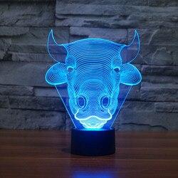 Bull 3D lampka nocna lampy stołowe Led na pokój dziecięcy oświetlenie Led na prezenty