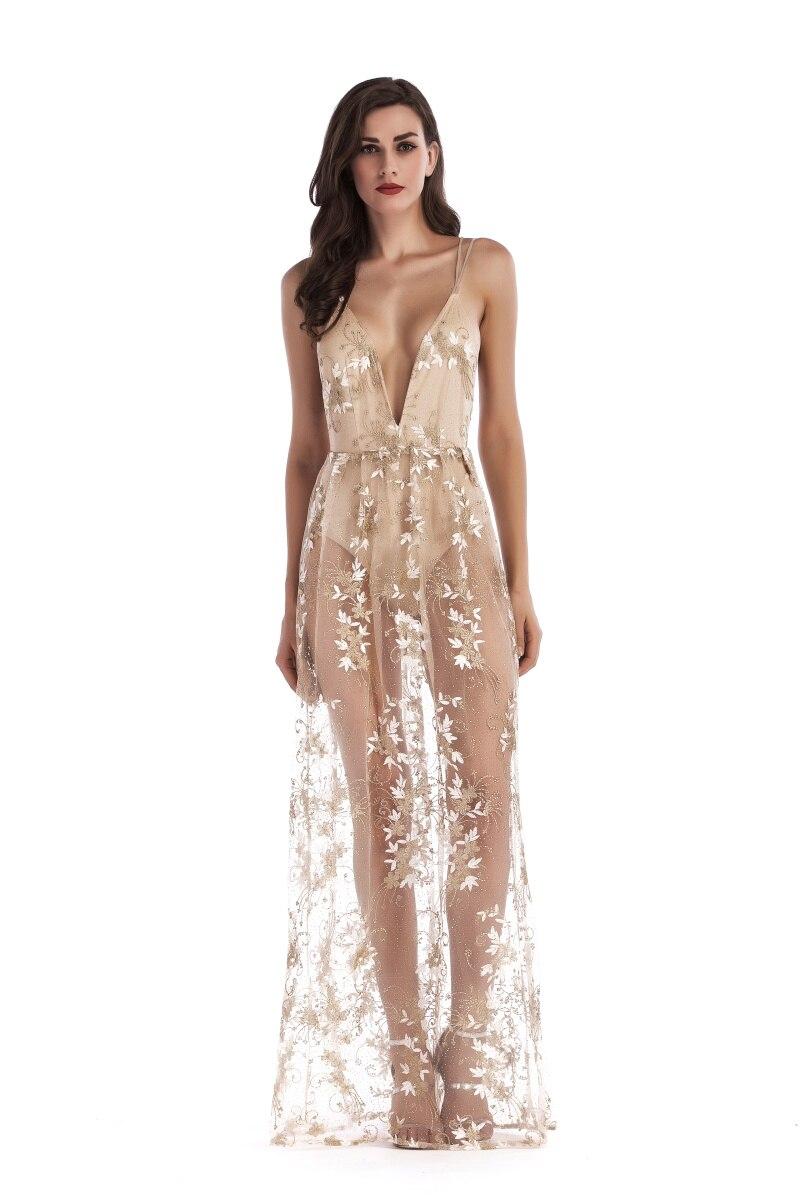 Luxury Sexy Women Sequins Long Dress See Through Woman Backless V-neck  Embroidery Club Party Dresses Maxi Bodycon Vestidos 2018 43a9311e8a8e