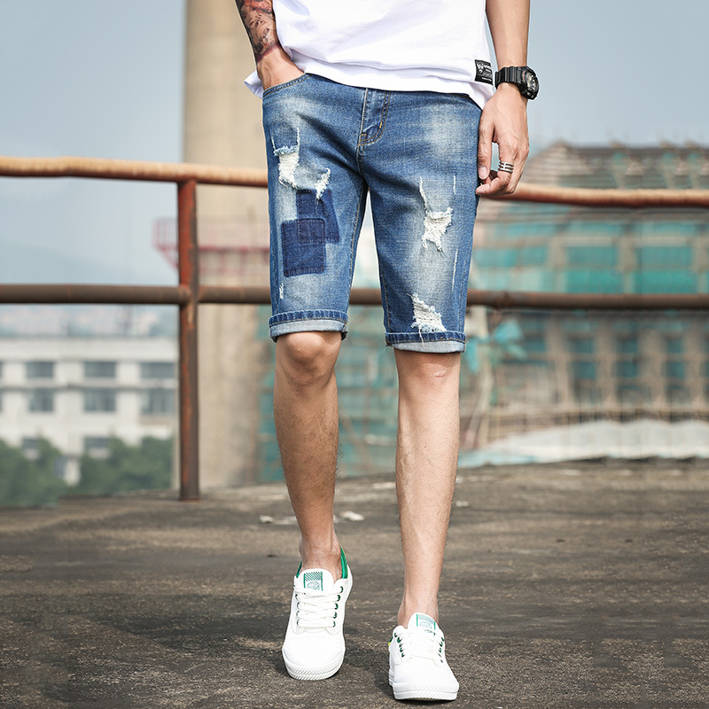 Mens Fashion Ripped Short Jeans Slim Fit Denim Short