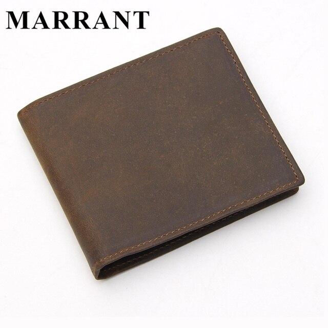 Marrant cuero genuino de los hombres carteras de cuero hombre monedero corto vintage hombre bolso de los hombres billetera masculina titular de la tarjeta monederos 608