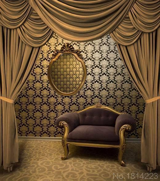3x5ft innen gelb barock damast muster wand vorhang teppich sofa drapieren brauch foto - Vorhang barock ...