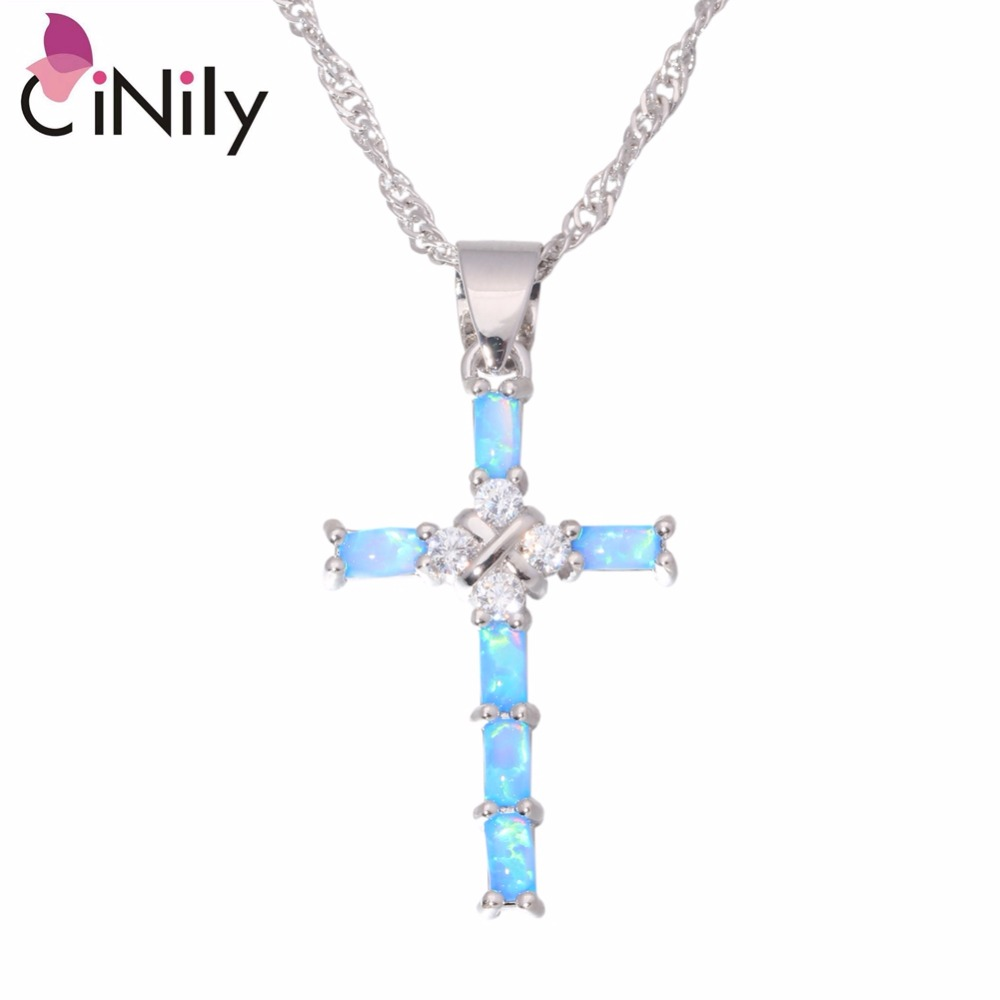 CiNily Created Blue White Fire Opal Cubic Zirconia Silver Plated Wholesale Cross for Women Jewelry Pendant Necklace OD6747-48