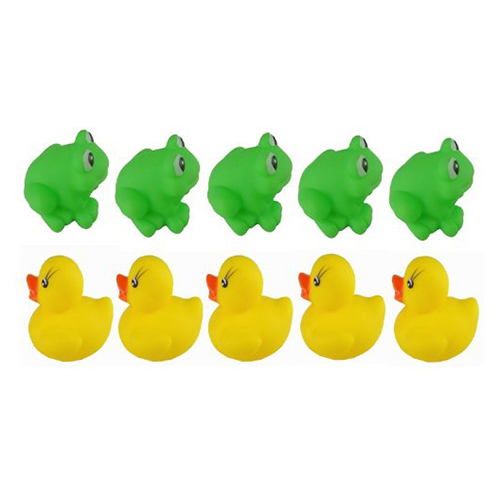 1 set of Frogs & Ducks 5Pcs+5Pcs Baby Bath Tub Toys