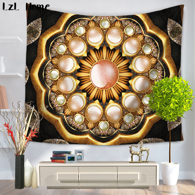 Lzl Home 3d Polyester Rectangle Tapestry Lotus Flower Featured Beach
