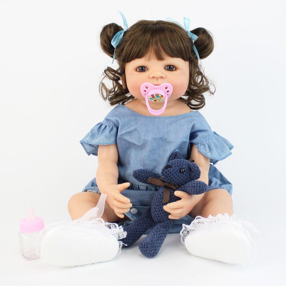 55cm silicone cheio reborn boneca do bebe brinquedo para a menina boneca vinil recem nascidos bebes