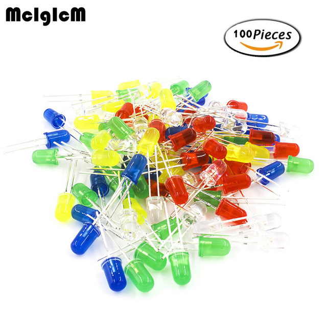MCIGICM 100pcs 5mm LED diode Light Assorted Kit DIY LEDs Set White Yellow Red Green Blue electronic diy kit Hot sale