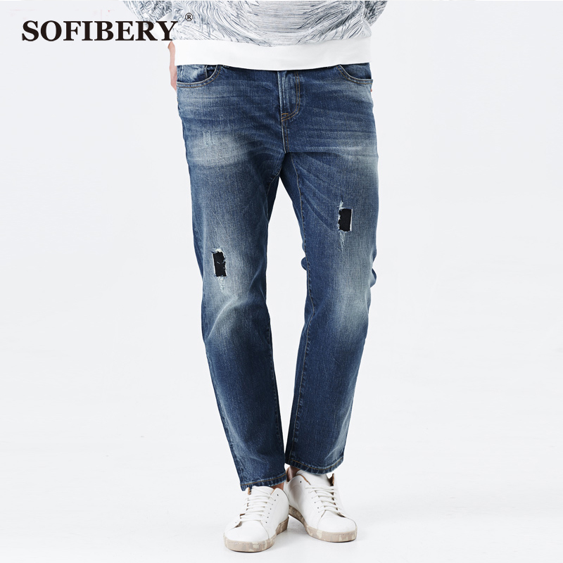 ФОТО SOFIBERY Men's jeans / tall, slim fit jeans / casual knitted elastic patch Jeans large size 36-52 LP151030