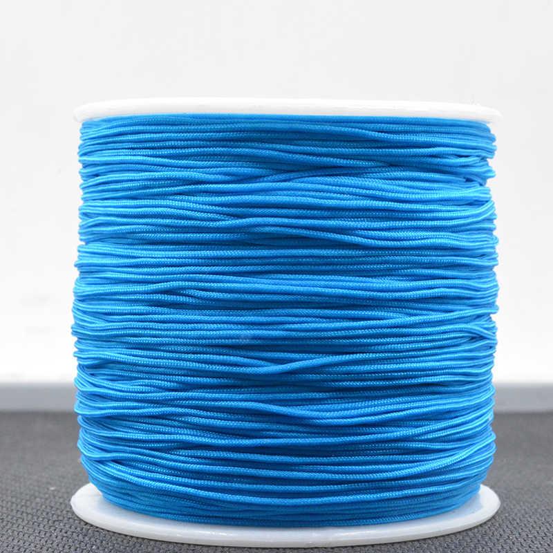 Light Blueสี 0.8MM 100 หลา/ผ้าซาตินRattailสายไนลอนKumihimo MacrameเชือกปมจีนDIYผลการค้นหาเครื่องประดับ