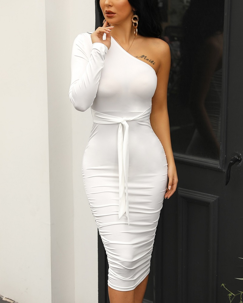 HTB1YjHxRgHqK1RjSZFPq6AwapXaW - Women Elegant Fashion Sexy White Cocktail Party Slim Fit Dresses One Shoulder Belted Ruched Design Bodycon Midi Dress