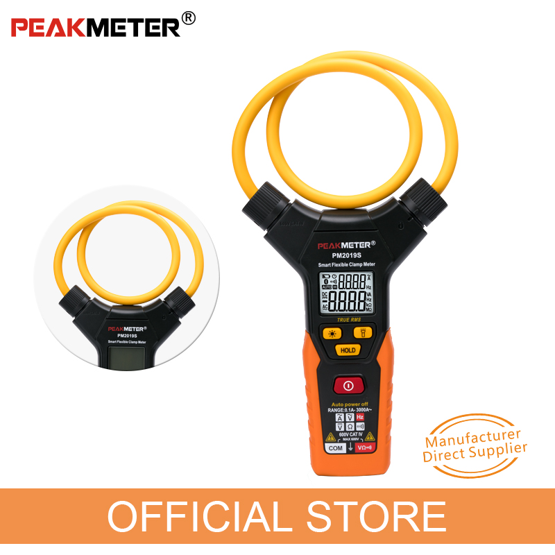 PEAKMETER PM2019S Smart AC Digital Flexible Clamp Meter 3000A Current Multimeter Voltage Frequency tester amperimetric clamp