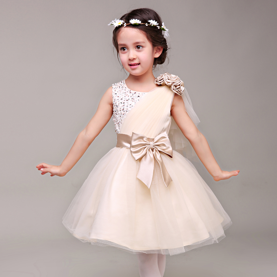 ФОТО Anlencool 2017 The new children's dress girls princess dress wedding flower girl dresses Korean champagne tutu dress girls