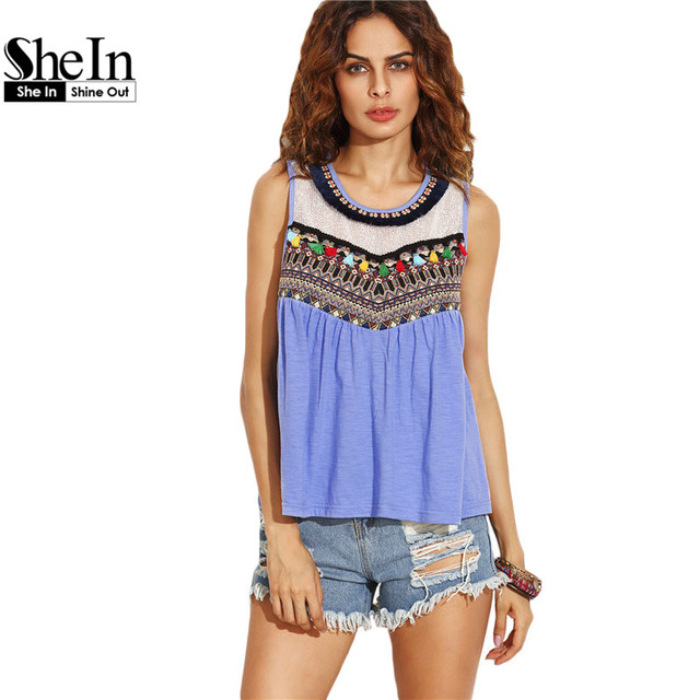 SheIn Summer Casual Tops For Woman 2016 Ladies Blue Round Neck Sleeveless Embroidered Tape Detail Tassel Tank Top